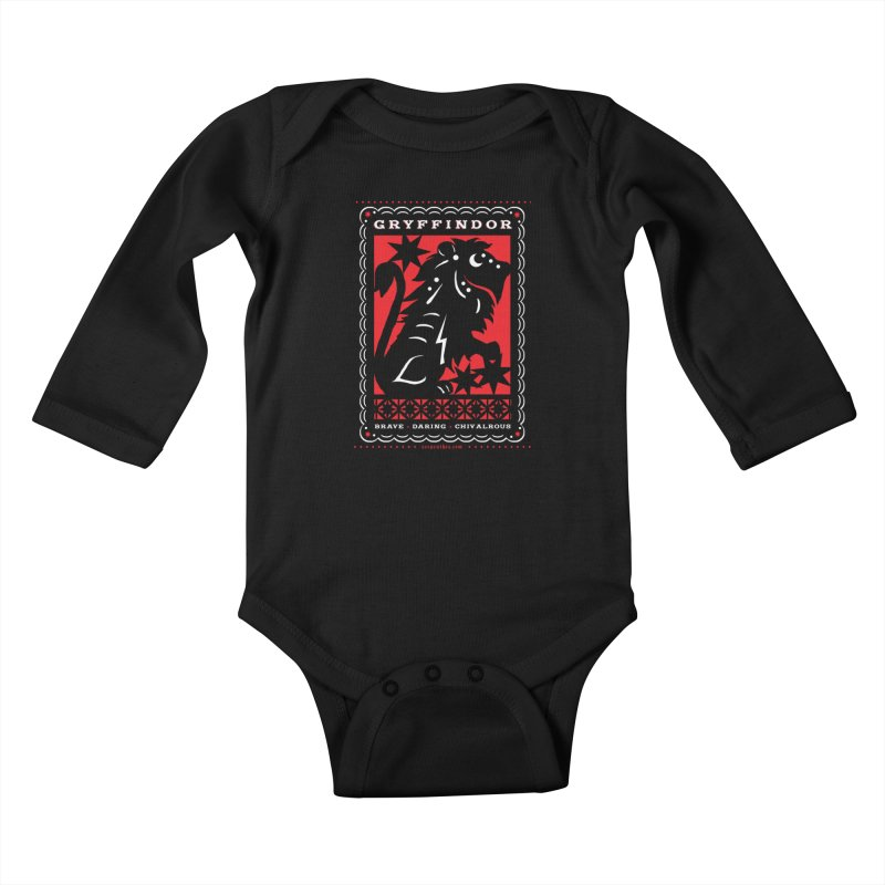 GRYFFINDOR Mexican Papel Picado Inspired Hogwarts House Crest Kids Baby Longsleeve Bodysuit by serpenthes's Artist Shop