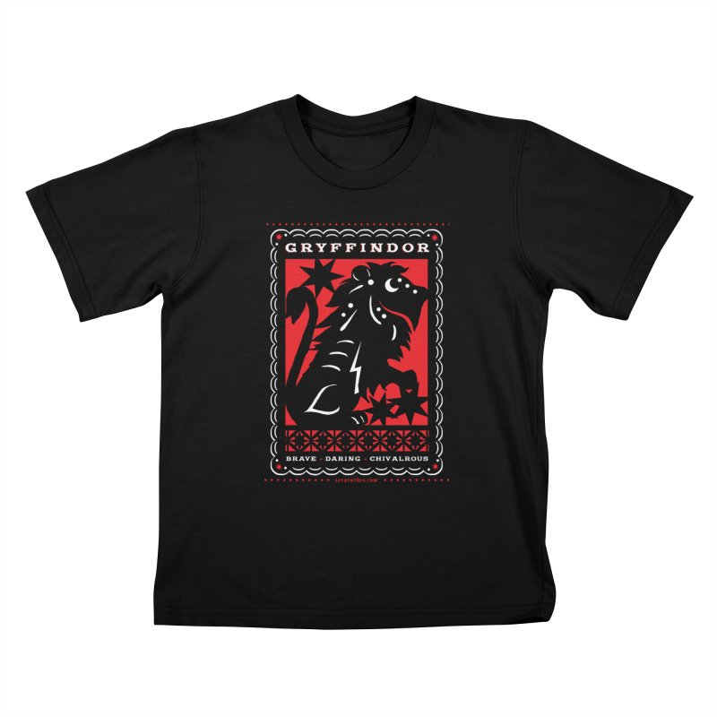 GRYFFINDOR Mexican Papel Picado Inspired Hogwarts House Crest Kids T-Shirt by serpenthes's Artist Shop