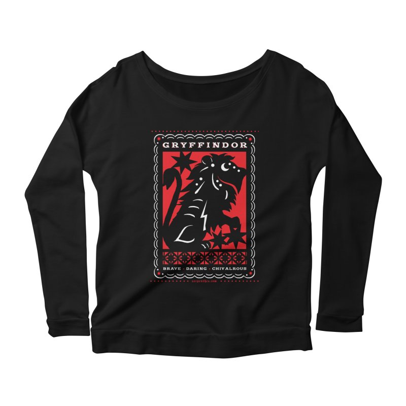GRYFFINDOR Mexican Papel Picado Inspired Hogwarts House Crest Women's Scoop Neck Longsleeve T-Shirt by serpenthes's Artist Shop