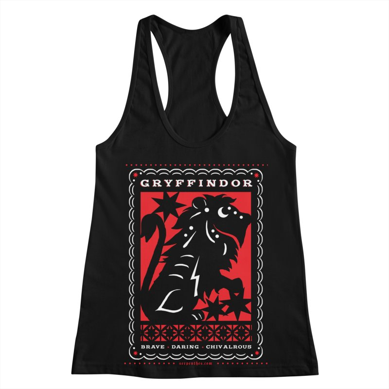 GRYFFINDOR Mexican Papel Picado Inspired Hogwarts House Crest Women's Racerback Tank by serpenthes's Artist Shop