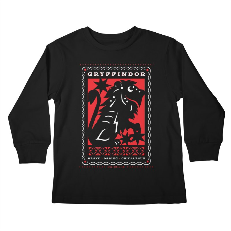 GRYFFINDOR Mexican Papel Picado Inspired Hogwarts House Crest Kids Longsleeve T-Shirt by serpenthes's Artist Shop