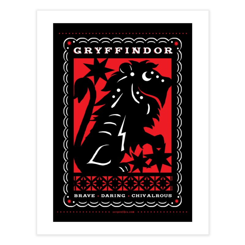 GRYFFINDOR Mexican Papel Picado Inspired Hogwarts House Crest Home Fine Art Print by serpenthes's Artist Shop
