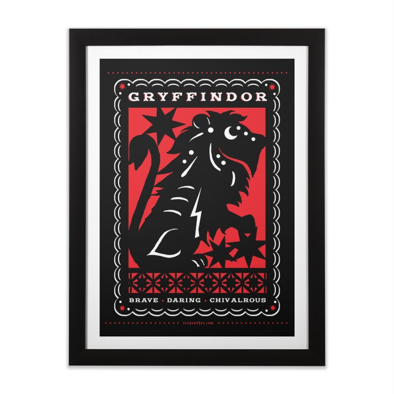 GRYFFINDOR Mexican Papel Picado Inspired Hogwarts House Crest Home Framed Fine Art Print by serpenthes's Artist Shop