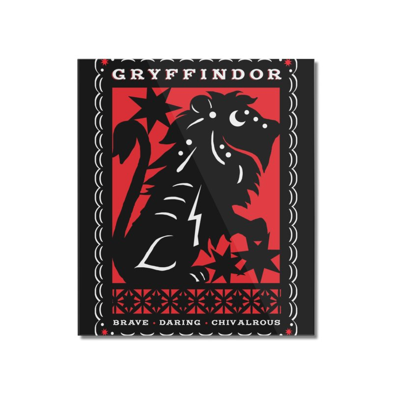 GRYFFINDOR Mexican Papel Picado Inspired Hogwarts House Crest Home Mounted Acrylic Print by serpenthes's Artist Shop