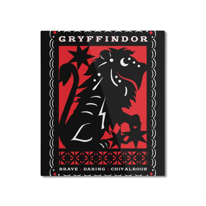 GRYFFINDOR Mexican Papel Picado Inspired Hogwarts House Crest Home Mounted Aluminum Print by serpenthes's Artist Shop