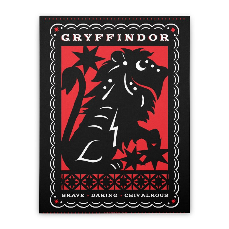 GRYFFINDOR Mexican Papel Picado Inspired Hogwarts House Crest Home Stretched Canvas by serpenthes's Artist Shop