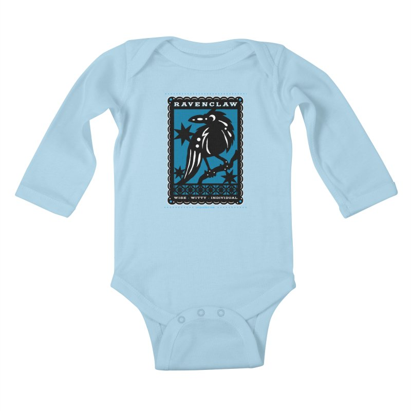 RAVENCLAW Mexican Papel Picado Inspired Hogwarts House Crest Kids Baby Longsleeve Bodysuit by serpenthes's Artist Shop