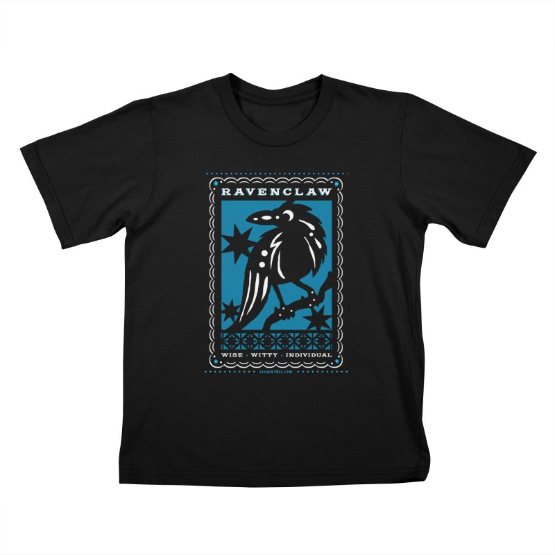RAVENCLAW Mexican Papel Picado Inspired Hogwarts House Crest Kids T-Shirt by serpenthes's Artist Shop