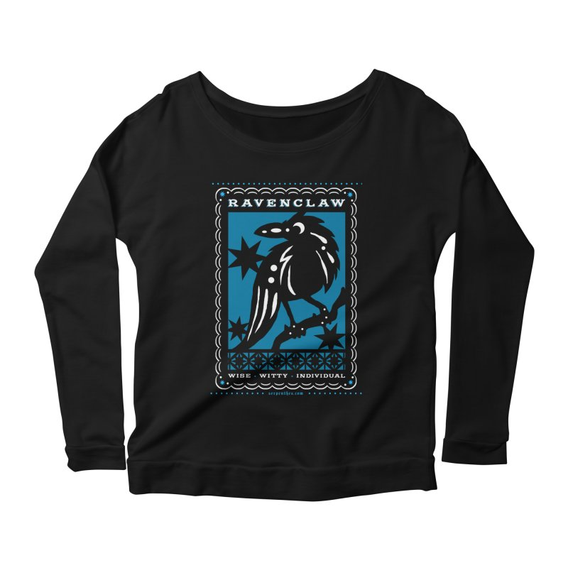 RAVENCLAW Mexican Papel Picado Inspired Hogwarts House Crest Women's Scoop Neck Longsleeve T-Shirt by serpenthes's Artist Shop