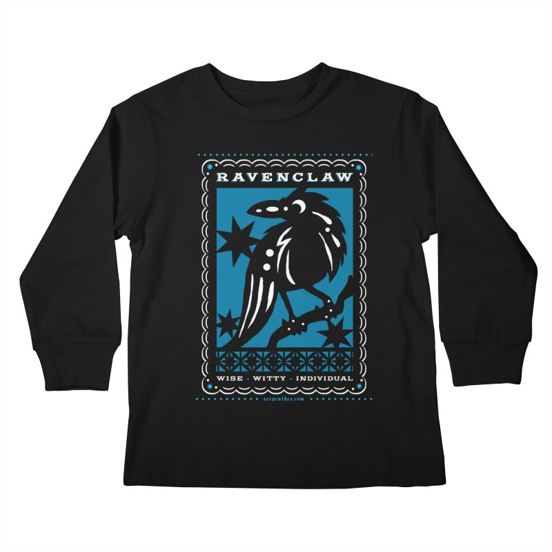RAVENCLAW Mexican Papel Picado Inspired Hogwarts House Crest Kids Longsleeve T-Shirt by serpenthes's Artist Shop