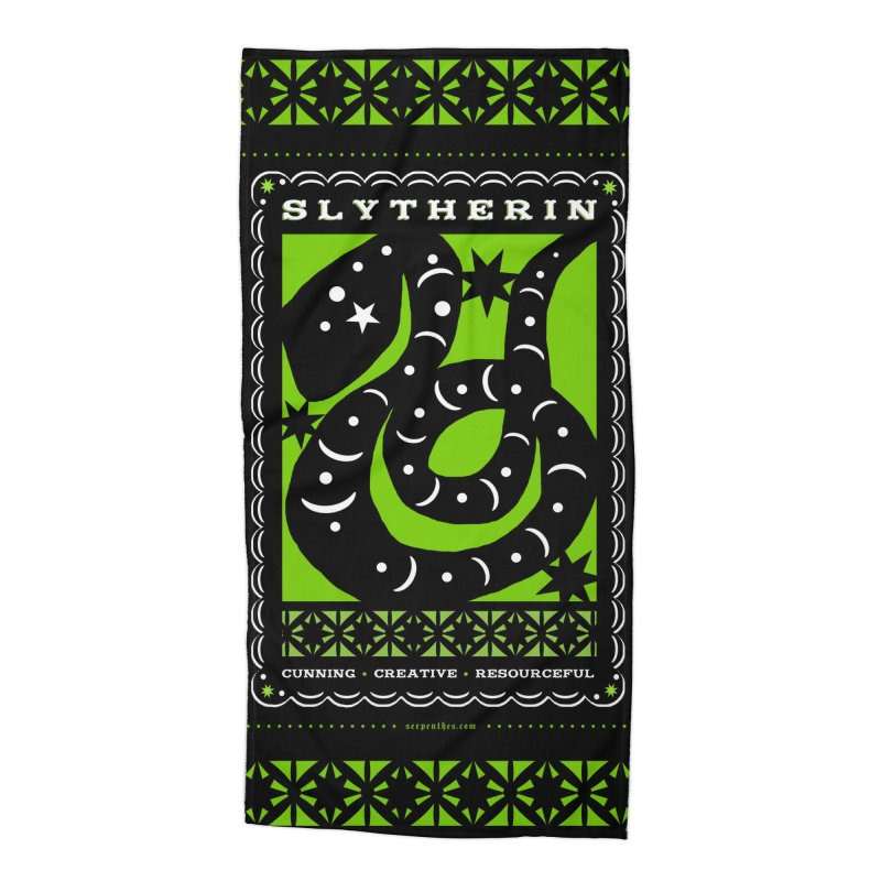 SLYTHERIN Mexican Papel Picado Inspired Hogwarts House Crest Accessories Beach Towel by serpenthes's Artist Shop
