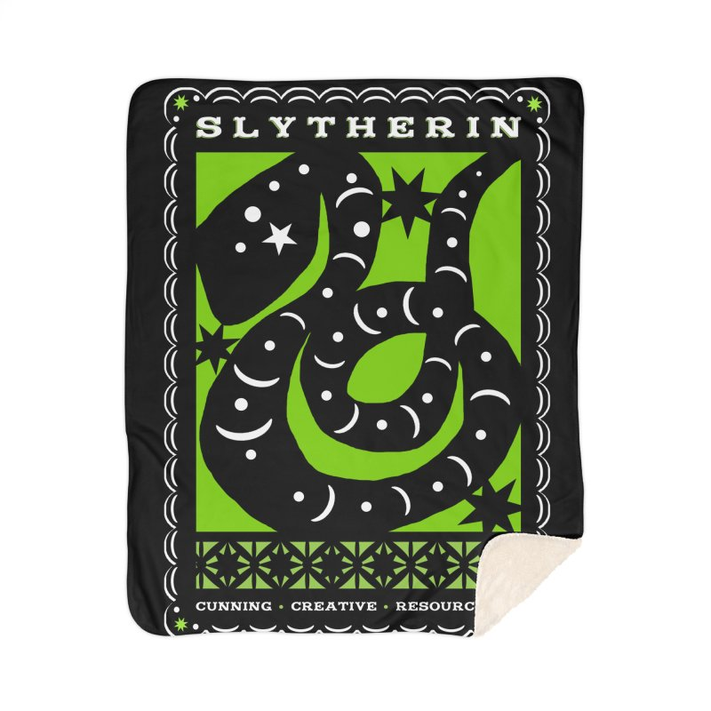 SLYTHERIN Mexican Papel Picado Inspired Hogwarts House Crest Home Sherpa Blanket Blanket by serpenthes's Artist Shop