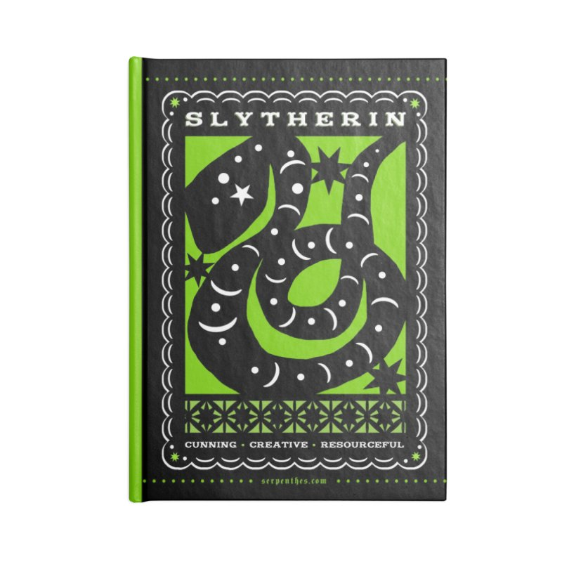 SLYTHERIN Mexican Papel Picado Inspired Hogwarts House Crest Accessories Lined Journal Notebook by serpenthes's Artist Shop