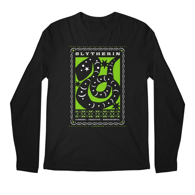 SLYTHERIN Mexican Papel Picado Inspired Hogwarts House Crest Men's Regular Longsleeve T-Shirt by serpenthes's Artist Shop