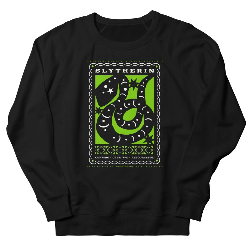 SLYTHERIN Mexican Papel Picado Inspired Hogwarts House Crest Women's French Terry Sweatshirt by serpenthes's Artist Shop