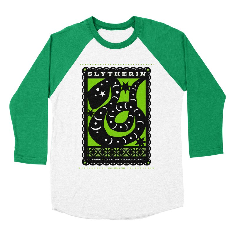SLYTHERIN Mexican Papel Picado Inspired Hogwarts House Crest Women's Baseball Triblend T-Shirt by serpenthes's Artist Shop