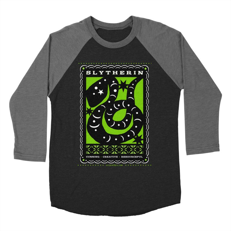 SLYTHERIN Mexican Papel Picado Inspired Hogwarts House Crest Women's Baseball Triblend Longsleeve T-Shirt by serpenthes's Artist Shop