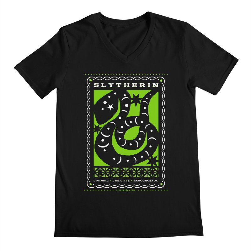 SLYTHERIN Mexican Papel Picado Inspired Hogwarts House Crest Men's V-Neck by serpenthes's Artist Shop
