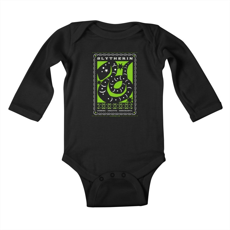 SLYTHERIN Mexican Papel Picado Inspired Hogwarts House Crest Kids Baby Longsleeve Bodysuit by serpenthes's Artist Shop