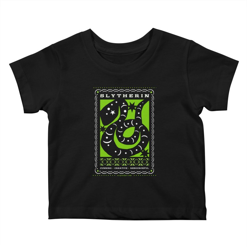SLYTHERIN Mexican Papel Picado Inspired Hogwarts House Crest Kids Baby T-Shirt by serpenthes's Artist Shop