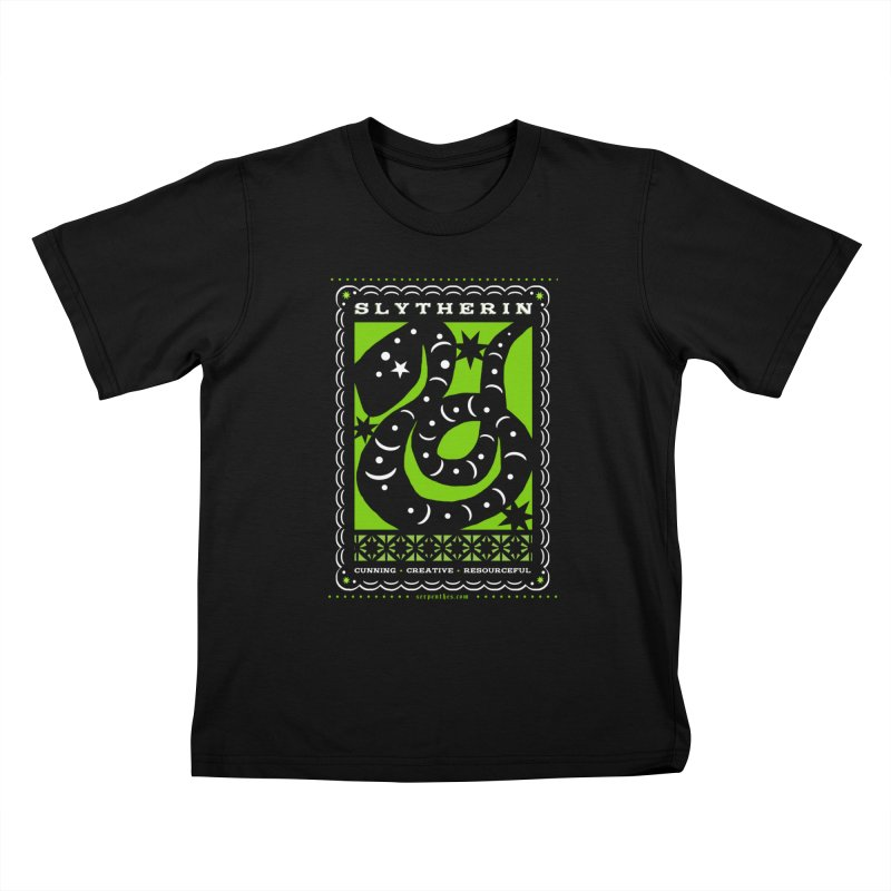 SLYTHERIN Mexican Papel Picado Inspired Hogwarts House Crest Kids T-Shirt by serpenthes's Artist Shop
