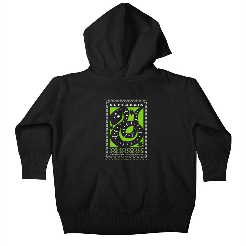 SLYTHERIN Mexican Papel Picado Inspired Hogwarts House Crest Kids Baby Zip-Up Hoody by serpenthes's Artist Shop