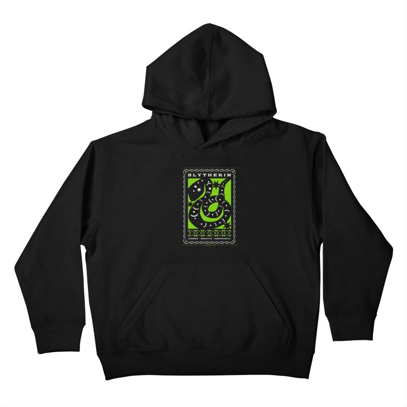SLYTHERIN Mexican Papel Picado Inspired Hogwarts House Crest Kids Pullover Hoody by serpenthes's Artist Shop