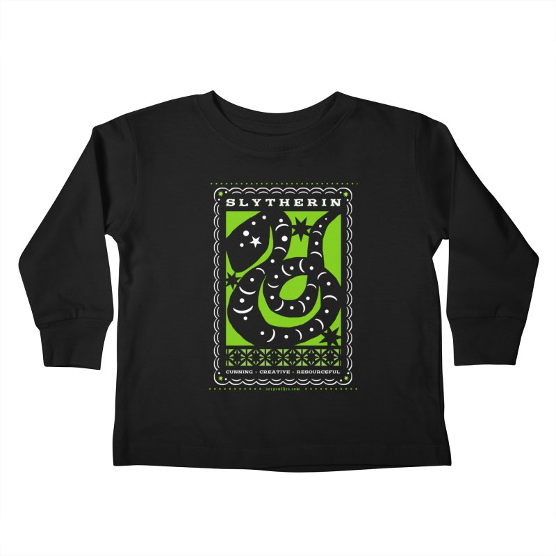 SLYTHERIN Mexican Papel Picado Inspired Hogwarts House Crest Kids Toddler Longsleeve T-Shirt by serpenthes's Artist Shop