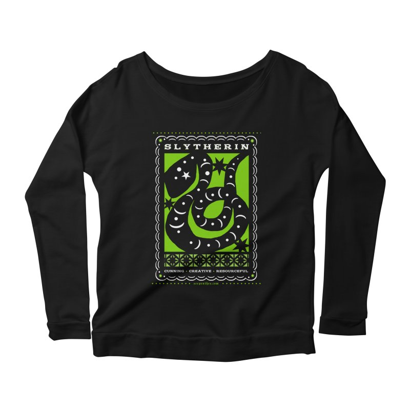SLYTHERIN Mexican Papel Picado Inspired Hogwarts House Crest Women's Scoop Neck Longsleeve T-Shirt by serpenthes's Artist Shop