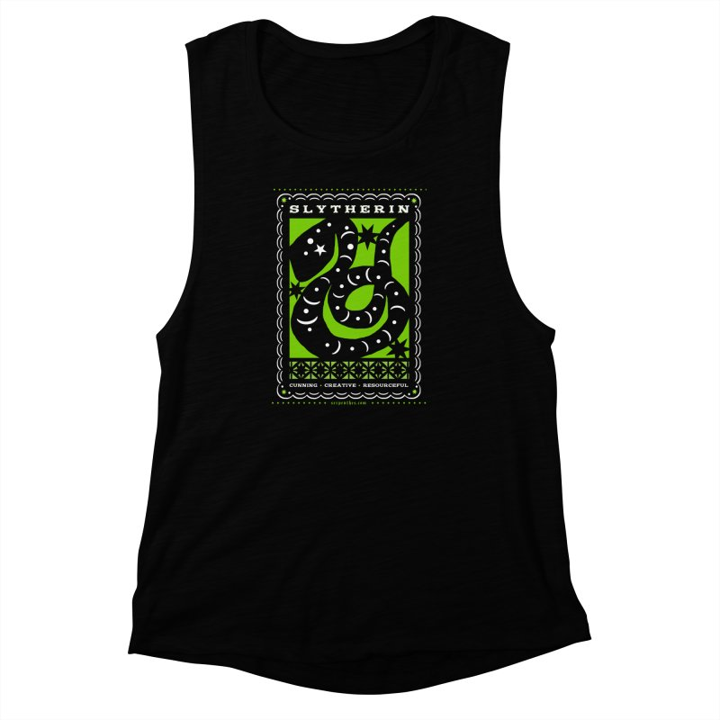 SLYTHERIN Mexican Papel Picado Inspired Hogwarts House Crest Women's Muscle Tank by serpenthes's Artist Shop