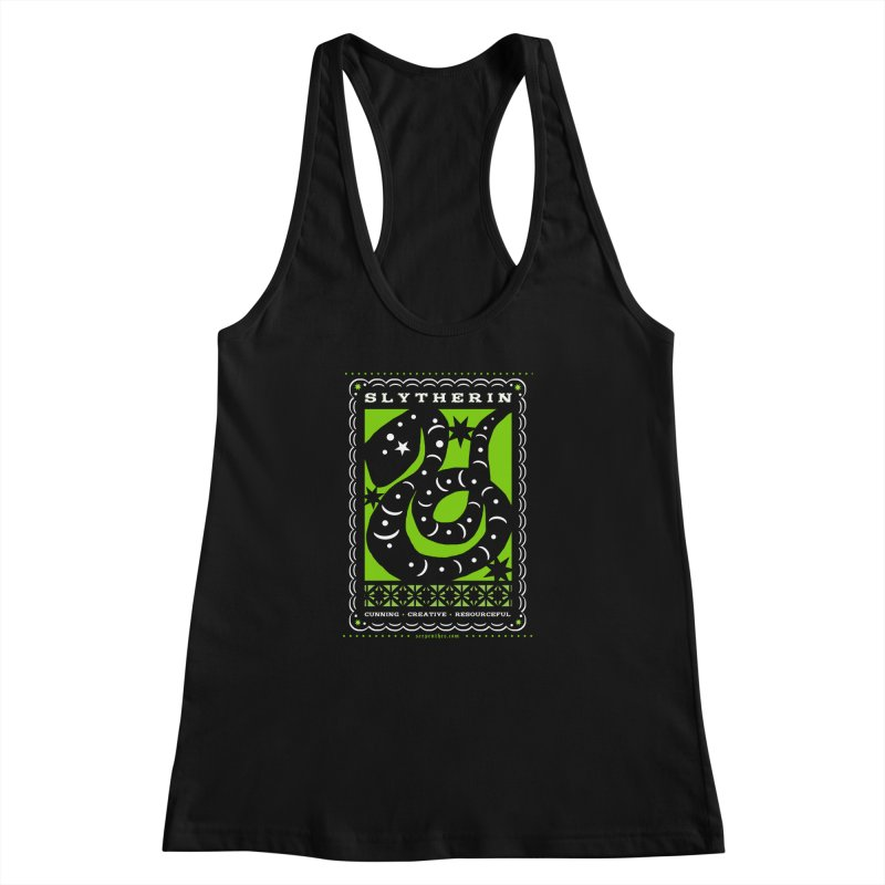 SLYTHERIN Mexican Papel Picado Inspired Hogwarts House Crest Women's Racerback Tank by serpenthes's Artist Shop