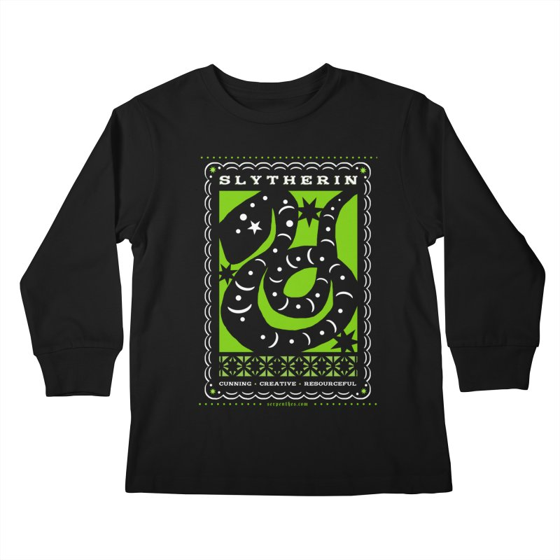 SLYTHERIN Mexican Papel Picado Inspired Hogwarts House Crest Kids Longsleeve T-Shirt by serpenthes's Artist Shop