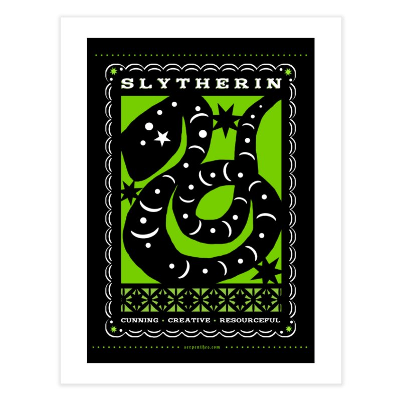 SLYTHERIN Mexican Papel Picado Inspired Hogwarts House Crest Home Fine Art Print by serpenthes's Artist Shop
