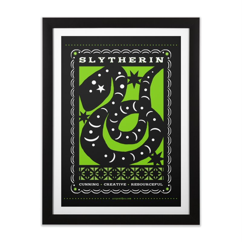 SLYTHERIN Mexican Papel Picado Inspired Hogwarts House Crest Home Framed Fine Art Print by serpenthes's Artist Shop