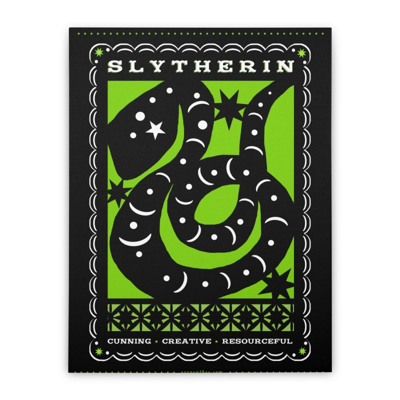 SLYTHERIN Mexican Papel Picado Inspired Hogwarts House Crest Home Stretched Canvas by serpenthes's Artist Shop