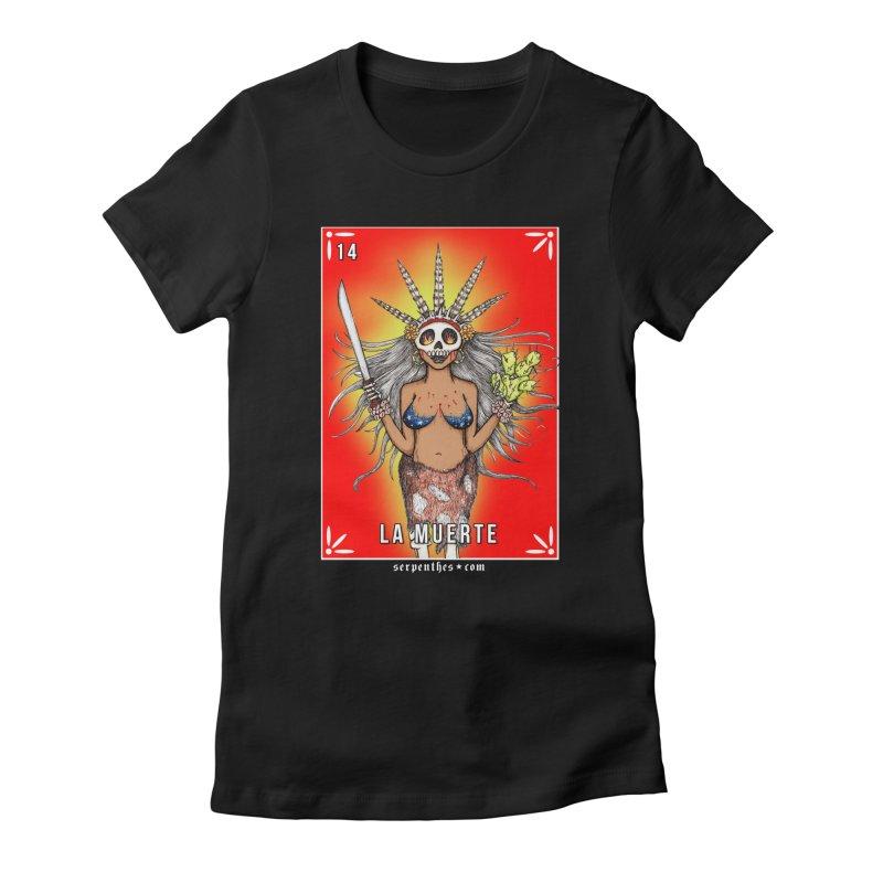 Lotería Serpenthes : Card No. 14 : La Muerte Women's Fitted T-Shirt by serpenthes's Artist Shop