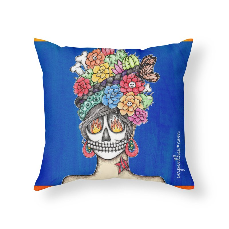 Ruiz 1980-2015 on Blue Home Throw Pillow by serpenthes's Artist Shop