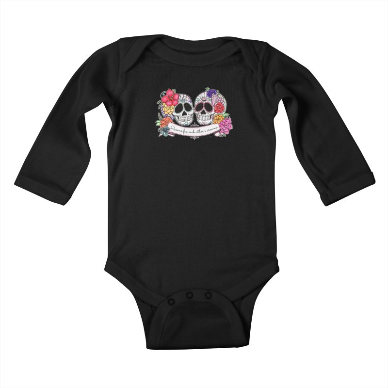 QUEENS in Noir Kids Baby Longsleeve Bodysuit by serpenthes's Artist Shop