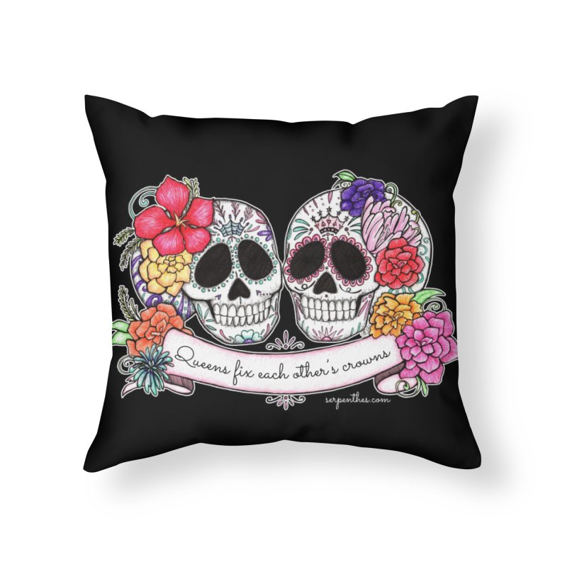 QUEENS in Noir Home Throw Pillow by serpenthes's Artist Shop
