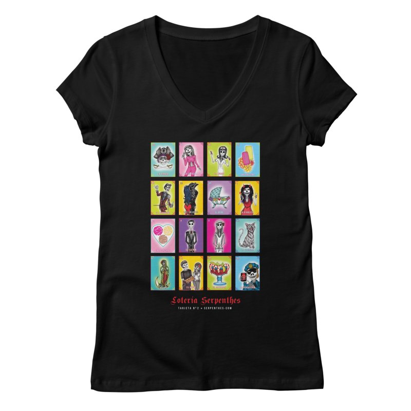 BLACK / Loteria Serpenthes, Card No. 2 Women's Regular V-Neck by serpenthes's Artist Shop