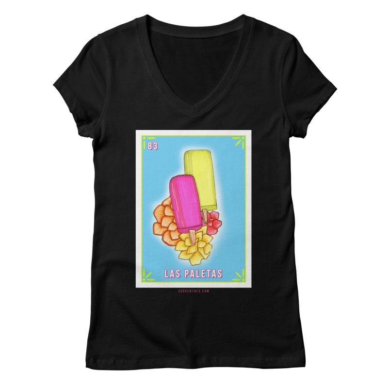# 83 LAS PALETAS / Loteria Serpenthes Tile 83 Women's Regular V-Neck by serpenthes's Artist Shop