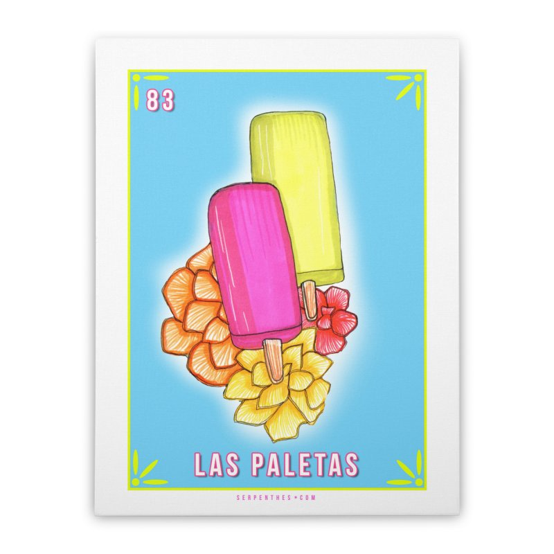 # 83 LAS PALETAS / Loteria Serpenthes Tile 83 Home Stretched Canvas by serpenthes's Artist Shop
