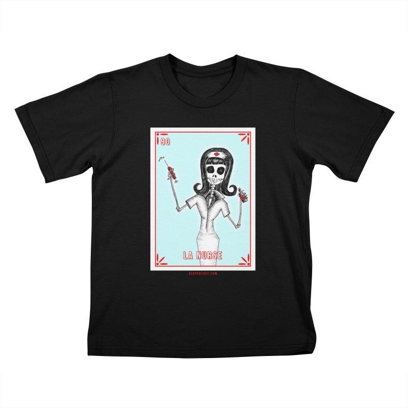 #90 LA NURSE / Loteria Serpenthes Tile Kids T-Shirt by serpenthes's Artist Shop