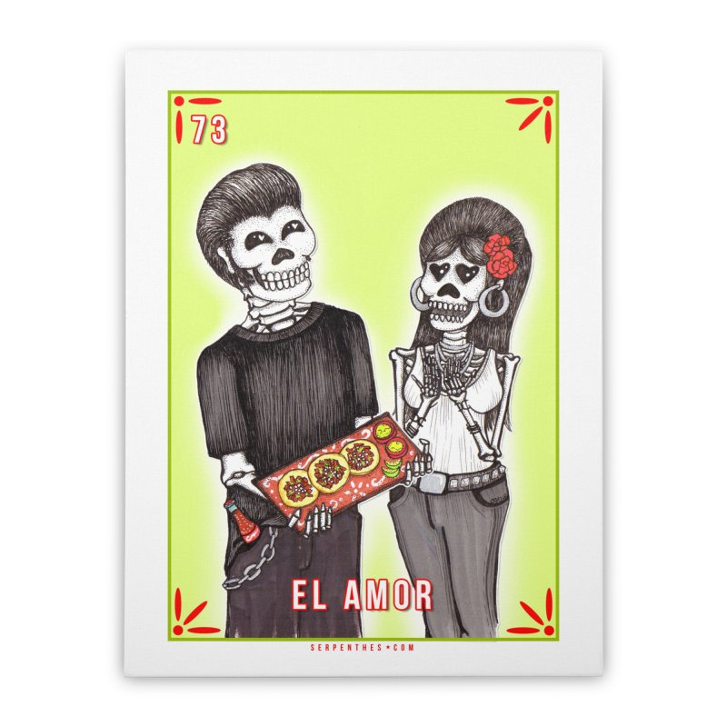 73 EL AMOR / Loteria Serpenthes Tile #73 : Love Home Stretched Canvas by serpenthes's Artist Shop