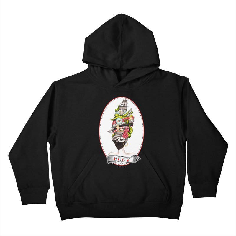 PIRATE QUEEN Kids Pullover Hoody by serpenthes's Artist Shop