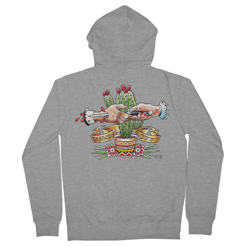 Hands Off in Women's French Terry Zip-Up Hoody Heather Graphite by Seth Goodkind Illustration