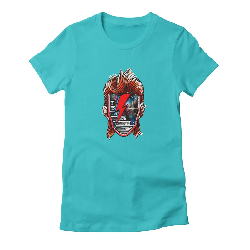 Cosmic Bowie Portal in Women's Fitted T-Shirt Pacific Blue by Seth Goodkind Illustration