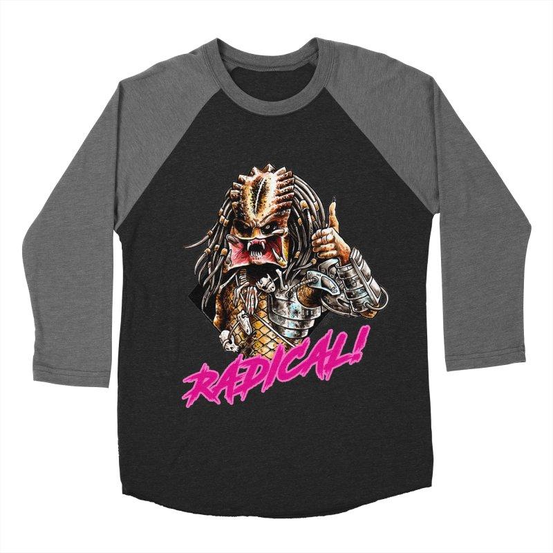 Radical Predator in Men's Baseball Triblend Longsleeve T-Shirt Grey Triblend Sleeves by Seth Goodkind Illustration