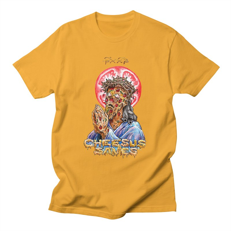 Cheesus Saves in Men's Regular T-Shirt Gold by Seth Goodkind Illustration