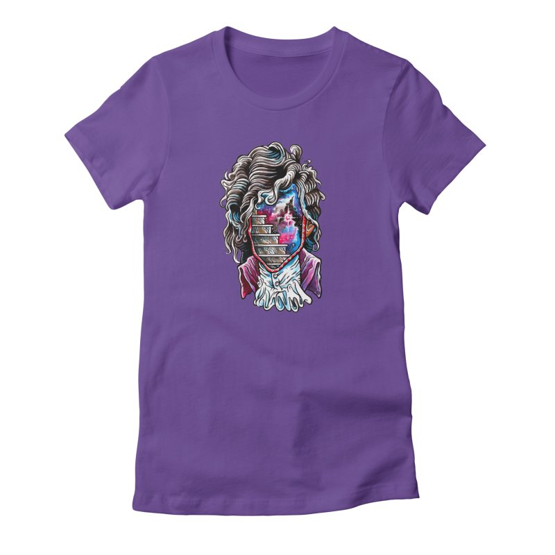 Cosmic Prince Portal in Women's Fitted T-Shirt Purple by Seth Goodkind Illustration